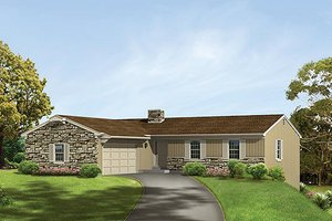 Ranch Exterior - Front Elevation Plan #57-553