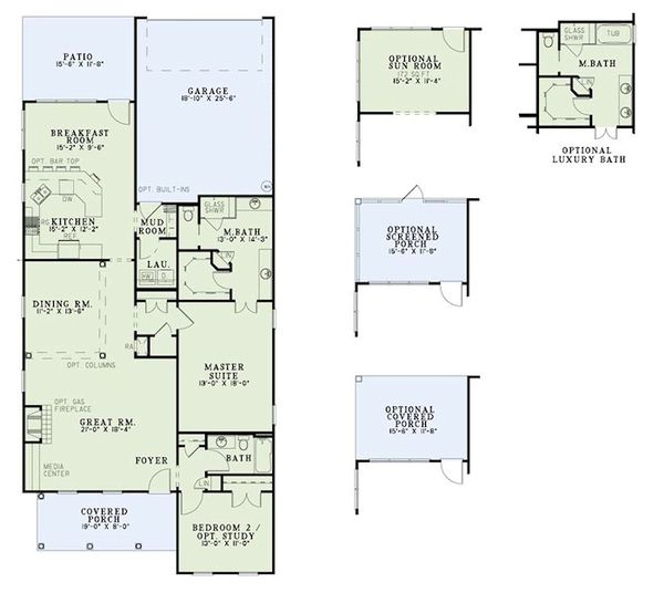 Dream House Plan - Traditional Floor Plan - Main Floor Plan #17-2424