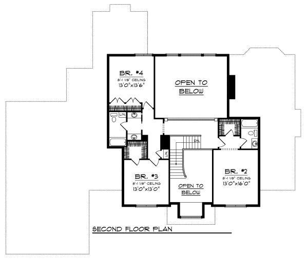 Traditional Floor Plan - Upper Floor Plan #70-886