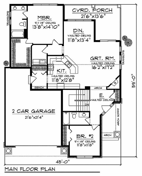 Craftsman Floor Plan - Main Floor Plan Plan #70-912