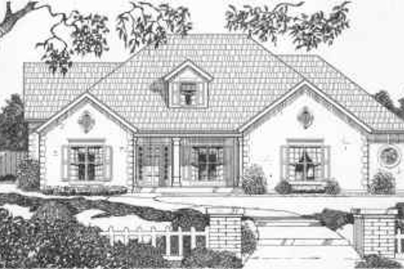 Traditional Style House Plan - 3 Beds 3.5 Baths 2487 Sq/Ft Plan #6-154 Exterior - Front Elevation