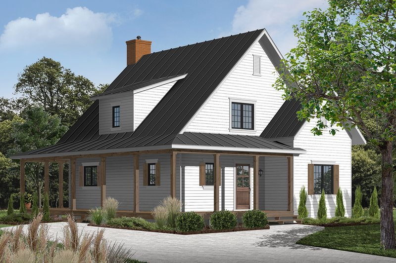 Farmhouse Style House Plan - 4 Beds 2 Baths 1617 Sq/Ft Plan #23-2582 Exterior - Front Elevation