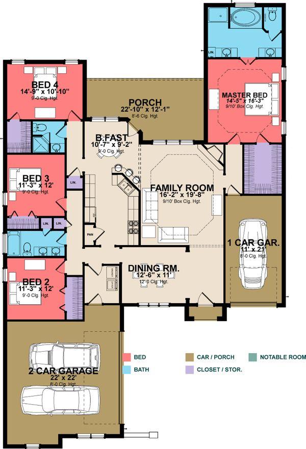 Architectural House Design - European Floor Plan - Main Floor Plan #63-252