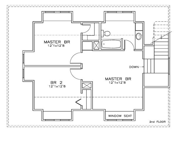 Southern Floor Plan - Upper Floor Plan Plan #8-313