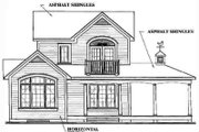 Country Style House Plan - 2 Beds 1.5 Baths 1252 Sq/Ft Plan #23-2164 Exterior - Rear Elevation