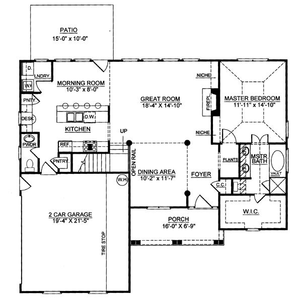 Colonial Floor Plan - Main Floor Plan Plan #119-258
