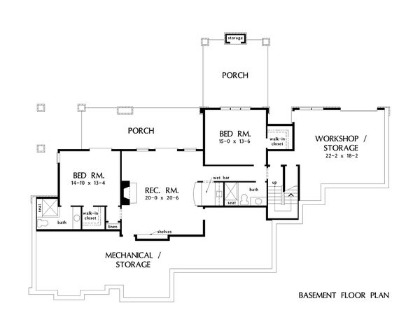 Traditional Floor Plan - Lower Floor Plan #929-1042