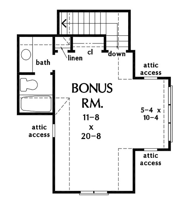 Architectural House Design - Ranch Floor Plan - Upper Floor Plan #929-1094