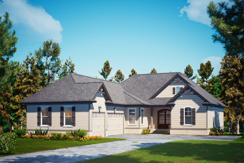 Craftsman Exterior - Front Elevation Plan #437-122