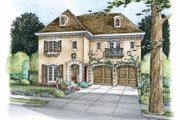 European Style House Plan - 4 Beds 4 Baths 4066 Sq/Ft Plan #20-2170 Exterior - Front Elevation