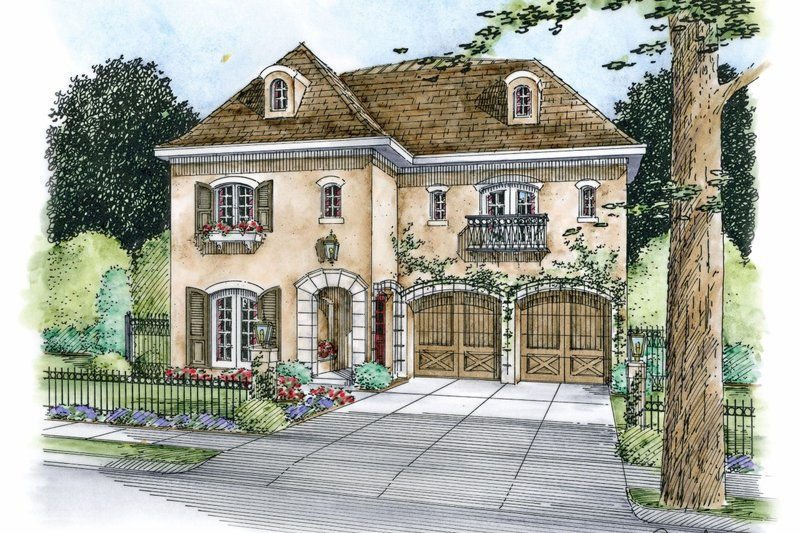 European Exterior - Front Elevation Plan #20-2170 - Houseplans.com