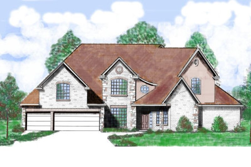 European Style House Plan - 4 Beds 4.5 Baths 3845 Sq/Ft Plan #52-209 Exterior - Front Elevation