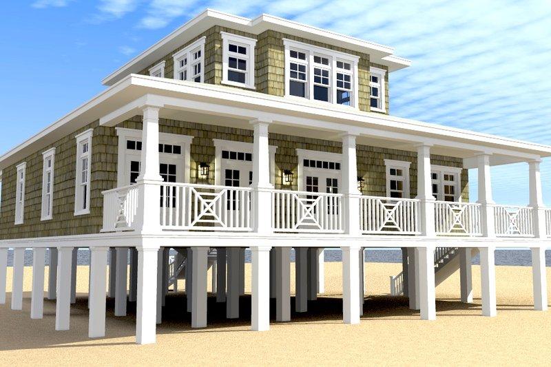 Beach Exterior - Rear Elevation Plan #64-226 - Houseplans.com