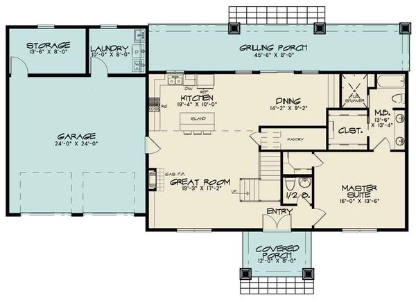 Country Floor Plan - Main Floor Plan Plan #17-2617