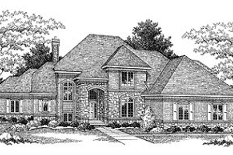European Style House Plan - 4 Beds 2.5 Baths 3527 Sq/Ft Plan #70-503 Exterior - Front Elevation