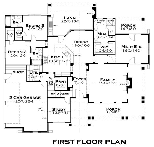 Home Plan - Cozy craftsman style floor plan by Texas architect David Wiggins - 2200 sft
