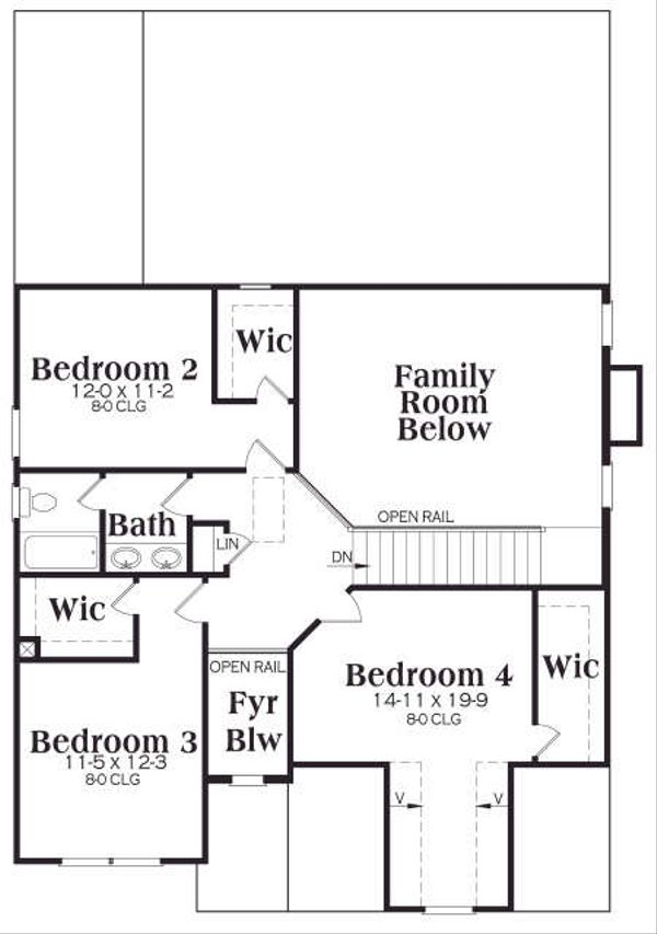 Craftsman Floor Plan - Upper Floor Plan Plan #419-175