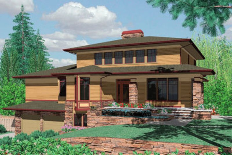 Architectural House Design - Prairie Exterior - Front Elevation Plan #48-355