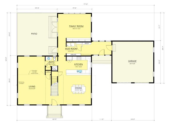 Colonial Floor Plan - Main Floor Plan Plan #903-3