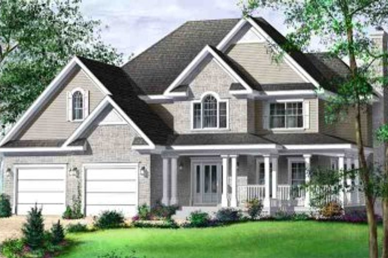 Traditional Style House Plan - 3 Beds 2.5 Baths 2461 Sq/Ft Plan #25-4170 Exterior - Front Elevation