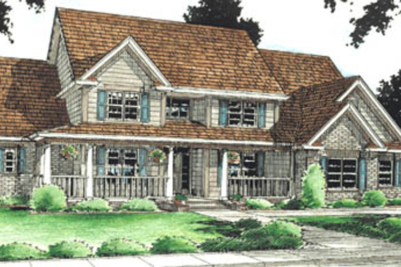 Country Style House Plan - 4 Beds 3.5 Baths 3914 Sq/Ft Plan #20-200 Exterior - Front Elevation
