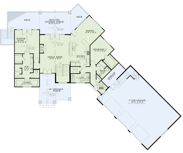 House Plan Design - Craftsman Floor Plan - Main Floor Plan #17-2486