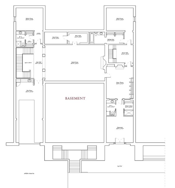 Basement level floor plan - 16000 square foot Mediterranean Home