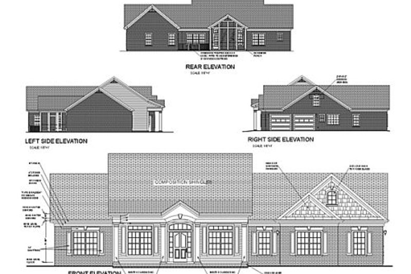 Southern Exterior - Rear Elevation Plan #56-170 - Houseplans.com