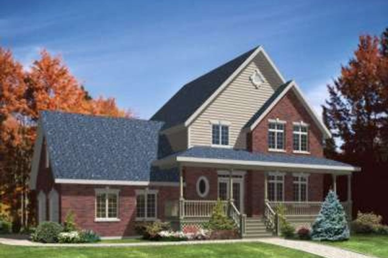 Traditional Style House Plan - 3 Beds 2.5 Baths 1870 Sq/Ft Plan #138-109 Exterior - Front Elevation