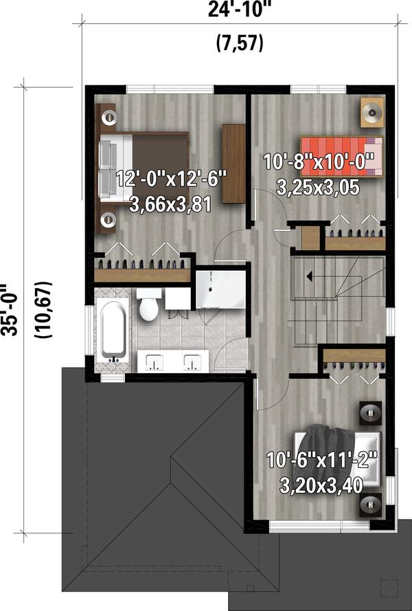 House Plan Design - Contemporary Floor Plan - Upper Floor Plan #25-4897