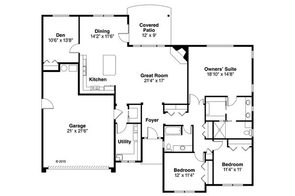 Ranch Floor Plan - Main Floor Plan Plan #124-1003