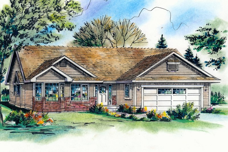 Architectural House Design - Ranch Exterior - Front Elevation Plan #18-1020