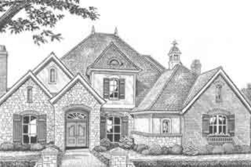 European Style House Plan - 4 Beds 3.5 Baths 3335 Sq/Ft Plan #310-500 Exterior - Front Elevation