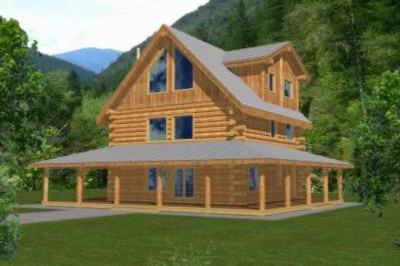 Log Exterior - Front Elevation Plan #117-413