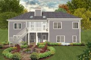 Colonial Style House Plan - 3 Beds 2.5 Baths 1800 Sq/Ft Plan #56-590 Exterior - Rear Elevation