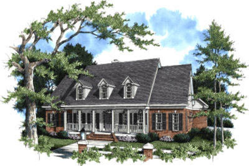 Traditional Style House Plan - 4 Beds 3 Baths 3085 Sq/Ft Plan #37-107 Exterior - Front Elevation