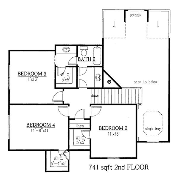 Craftsman house plan second story floor plan