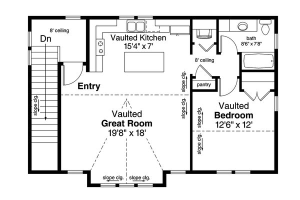 European Floor Plan - Upper Floor Plan Plan #124-1037