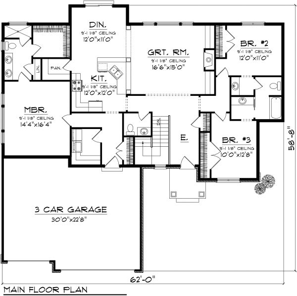 Ranch Floor Plan - Main Floor Plan Plan #70-1116