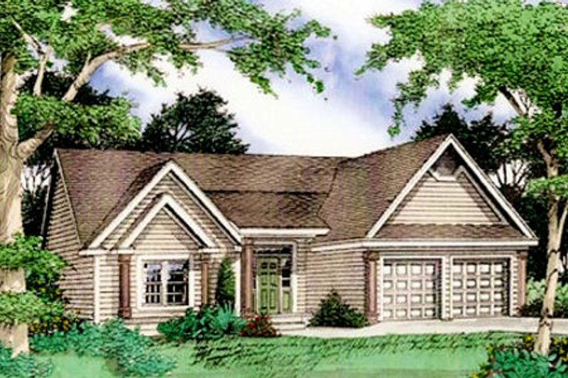 Country Exterior - Front Elevation Plan #405-163