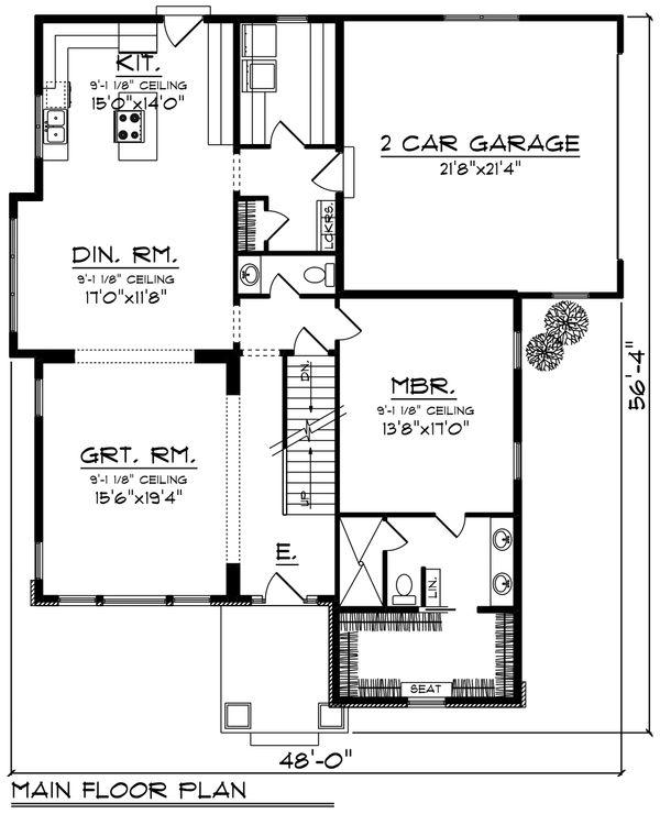 Craftsman Floor Plan - Main Floor Plan Plan #70-1229