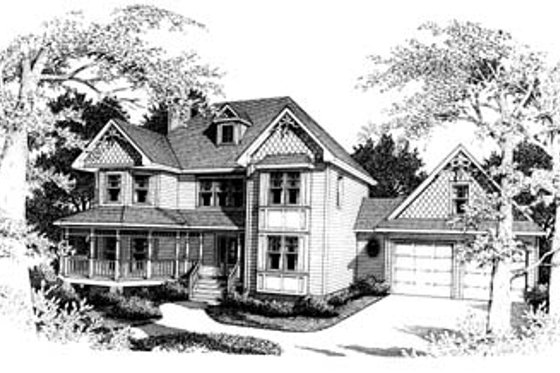 Victorian Exterior - Front Elevation Plan #10-208