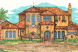 Mediterranean Exterior - Front Elevation Plan #135-150