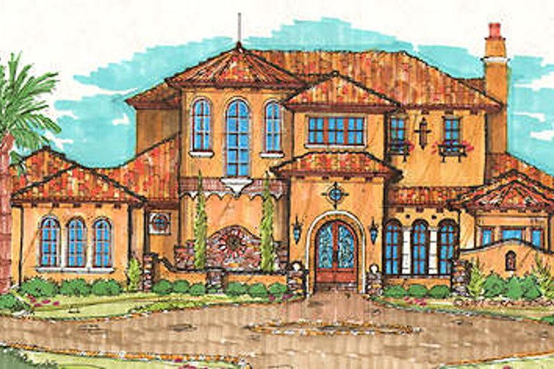 Mediterranean Style House Plan - 4 Beds 3.5 Baths 6396 Sq/Ft Plan #135-150 Exterior - Front Elevation