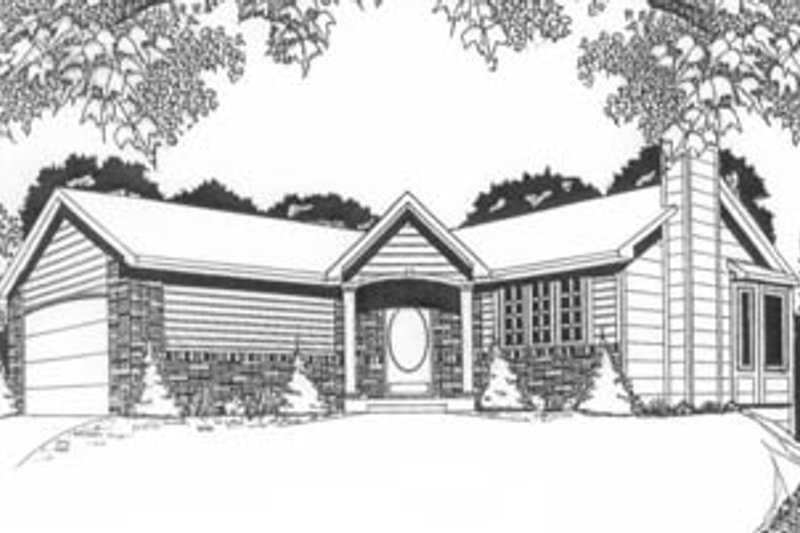 Ranch Exterior - Front Elevation Plan #58-105 - Houseplans.com