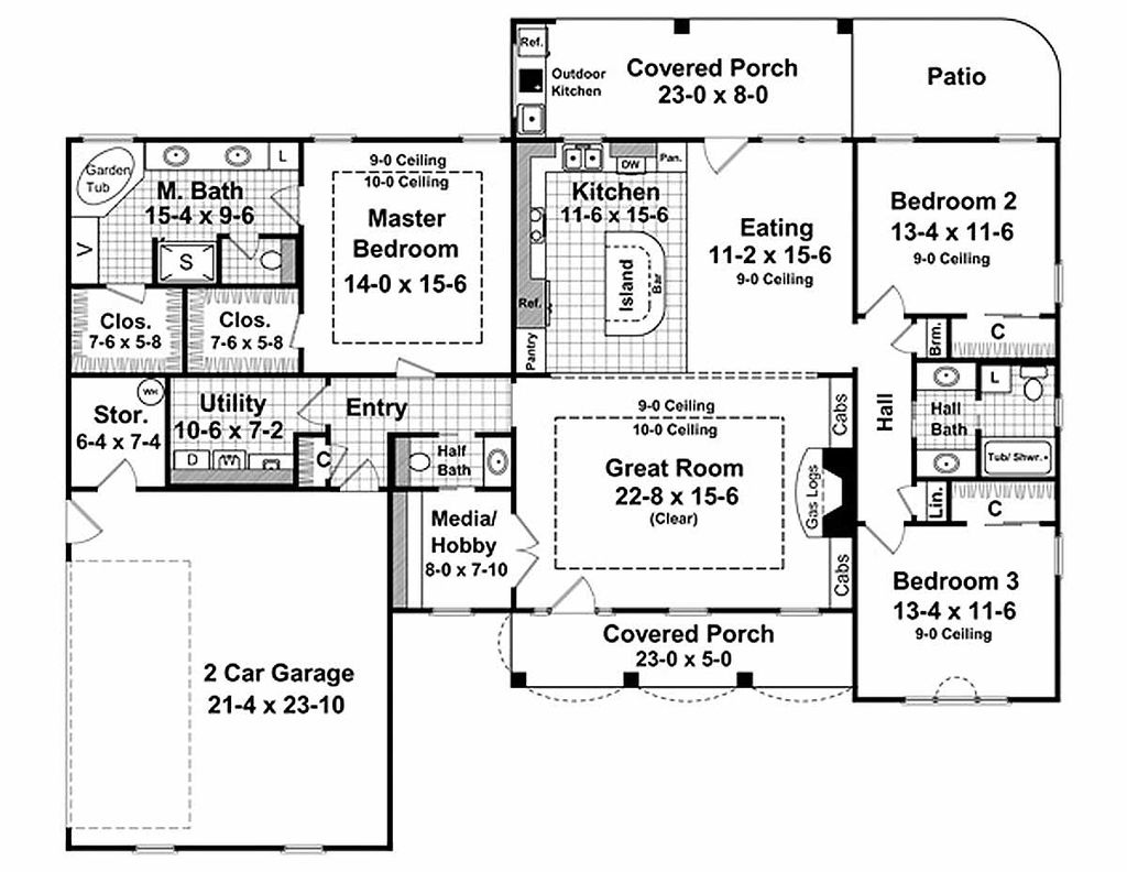 Country Style House Plan 3 Beds 2 5 Baths 2000 Sq Ft Plan 21 197