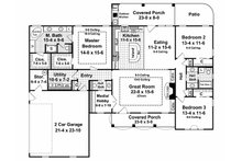 Country Floor Plan - Main Floor Plan Plan #21-197