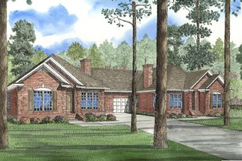Traditional Style House Plan - 3 Beds 2 Baths 3238 Sq/Ft Plan #17-1061 Exterior - Front Elevation