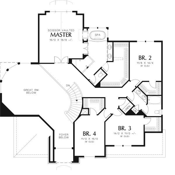 European Floor Plan - Upper Floor Plan Plan #48-546