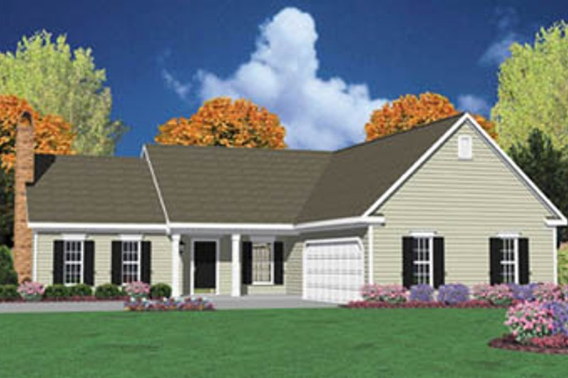 Traditional Style House Plan - 3 Beds 2 Baths 1502 Sq/Ft Plan #36-132